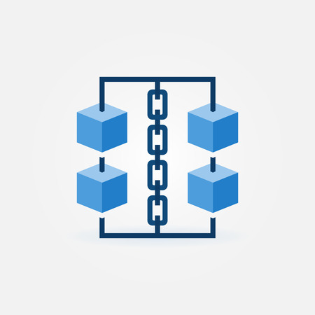 Block chain vector icon. Blue cubes with chain symbol