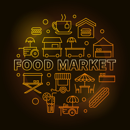 Food market circular yellow symbol. Vector creative linear round street food concept illustration on dark background Illustration