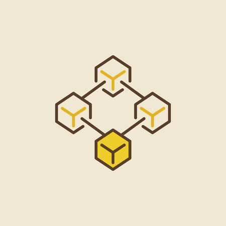 Blockchain technology creative colored vector icon or logo element Illustration