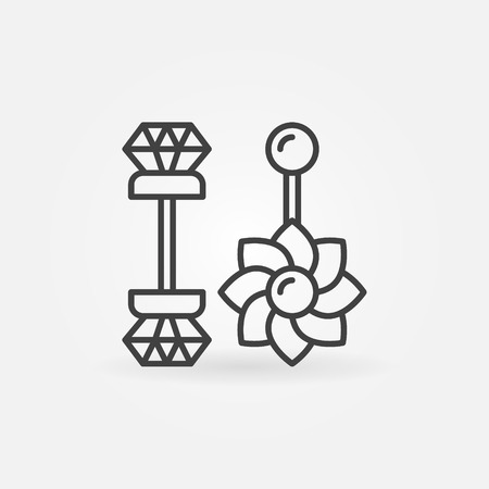 Belly button rings icon - vector piercing jewelry concept sign or design element in thin line style