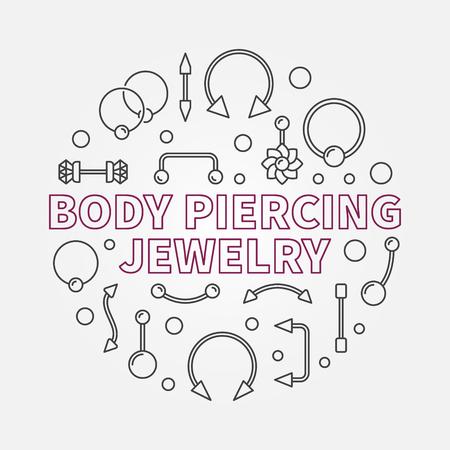 Body piercing jewelry vector modern outline illustration Illustration