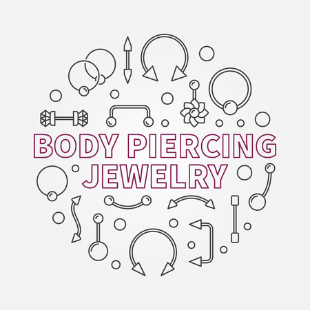 Body piercing jewelry vector modern outline illustration Vettoriali