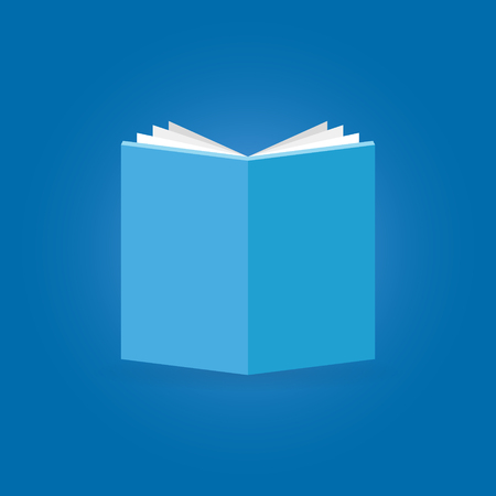 Book flat icon on blue background