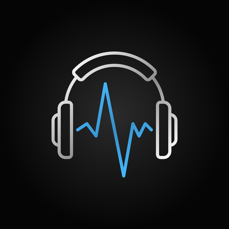 Silver Music headphones with blue sound wave vector icon