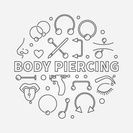 Body Piercing round vector illustration in thin line style