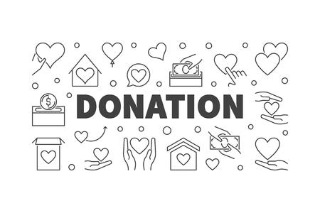 Donation vector modern line illustration or banner. Иллюстрация