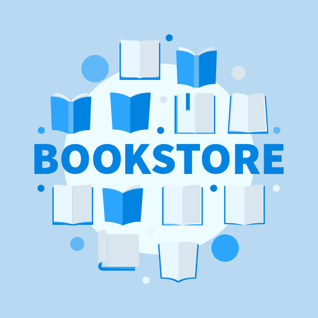 Bookstore round blue flat illustration. Vector creative circular symbol made of books icons and word BOOKSTORE Çizim