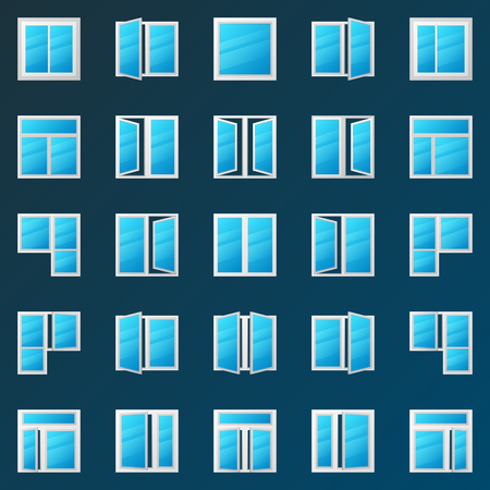 Colorful window icons set - vector plastic windows signs.