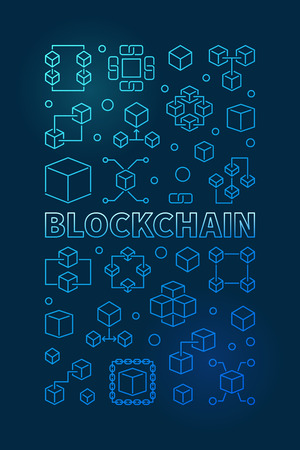 Block chain technology blue vertical outline banner or poster.