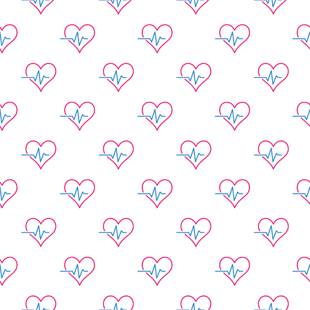 Creative heartbeat or cardiac cycle seamless vector pattern or background
