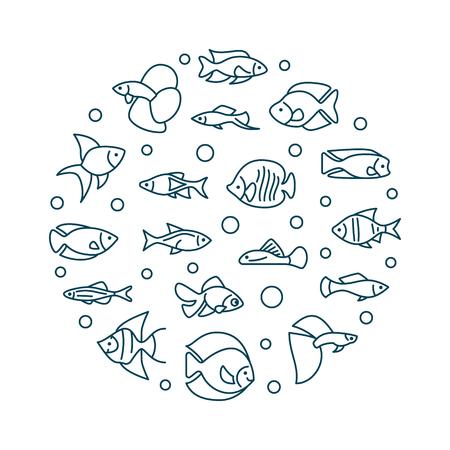 Aquarium fish vector round creative illustration in line style.