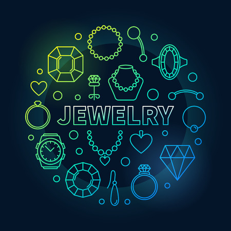 Jewelry vector colorful round outline illustration. Illustration