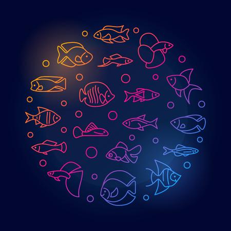 Aquarium fish vector round colored illustration in line style. Иллюстрация