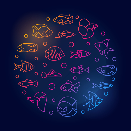 Aquarium fish vector round colored illustration in line style. Illustration