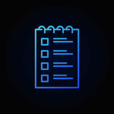 Checklist blue outline icon. Vector to do list concept sign or logo element in thin line style on dark background