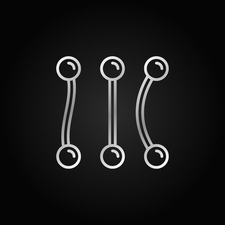 Piercing barbells vector silver icon in outline style Illustration
