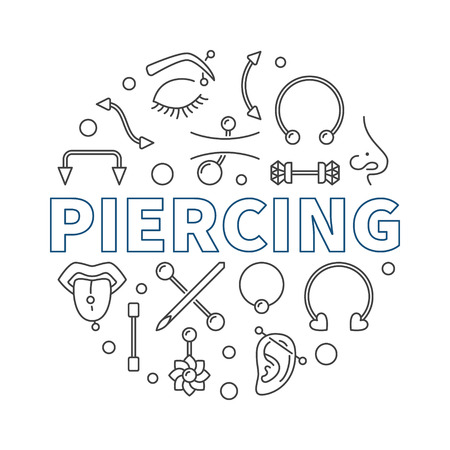 Piercing vector round illustration made with piercings icons  イラスト・ベクター素材