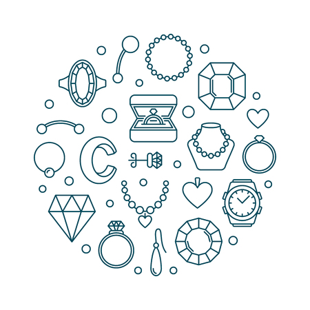 Jewellery vector outline illustration made with jewelry icons
