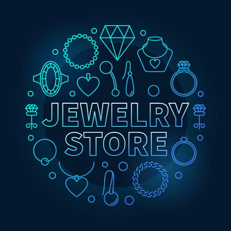 Jewelry store blue vector round illustration on dark background