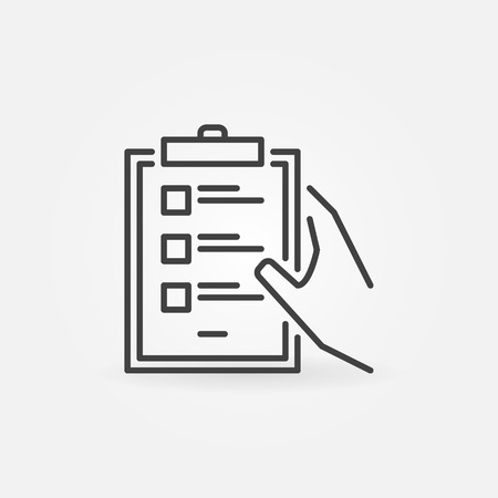 Hand holding clipboard with checklist vector minimal line icon