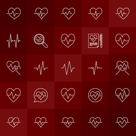 Cardiac cycle vector minimal concept outline heartbeat icons