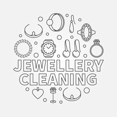 Jewellery cleaning vector llustration made with linear icons