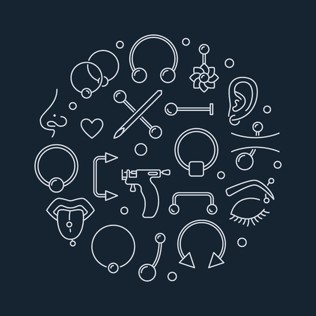 Piercing vector round illustration made with linear icons
