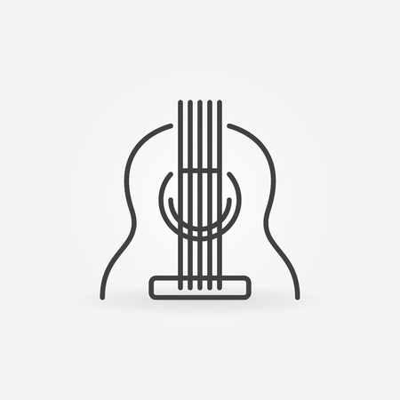 Acoustic Guitar vector icon in thin line style
