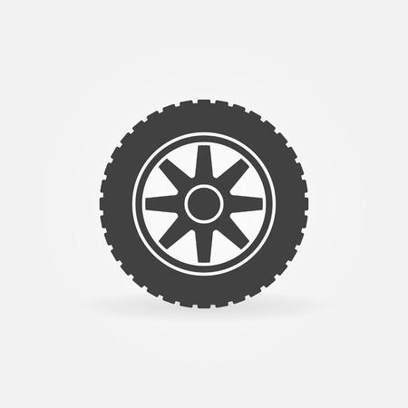 Car wheel vector simple icon - car service sign