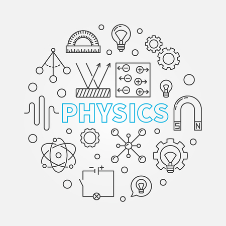 Physics vector round education outline illustration