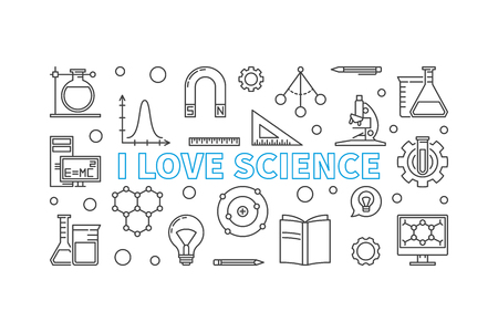 I love science vector horizontal banner in line style