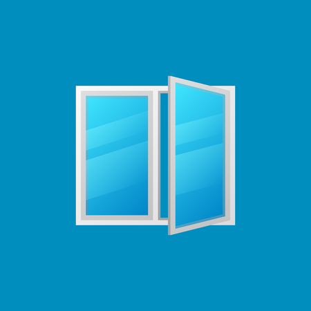 Open window vector colorful icon on blue background