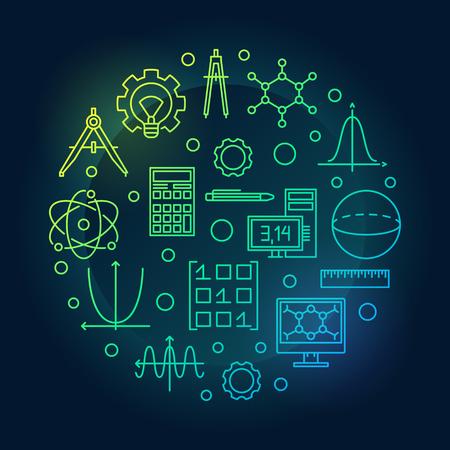 Illustration ronde colorée de vecteur de STEM dans le style de ligne mince Vecteurs