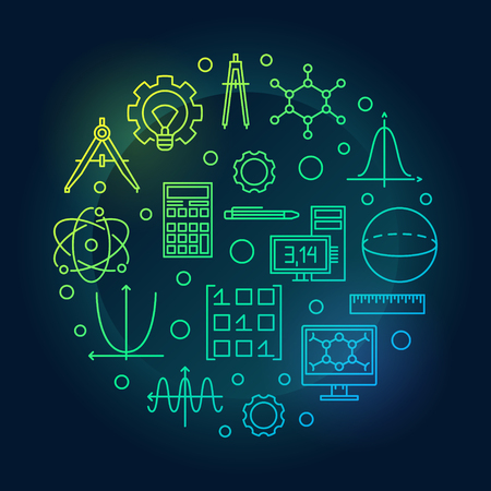 STEM vector colored round illustration in thin line style