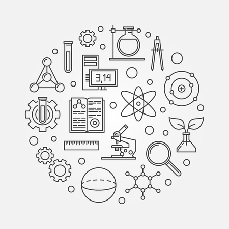 Education and science outline round vector illustration 일러스트