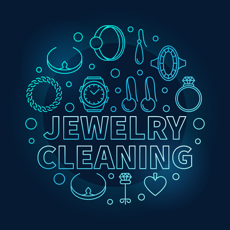 Jewelry cleaning vector blue circular outline illustration 일러스트