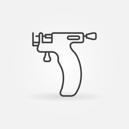Piercing gun vector icon in thin line style