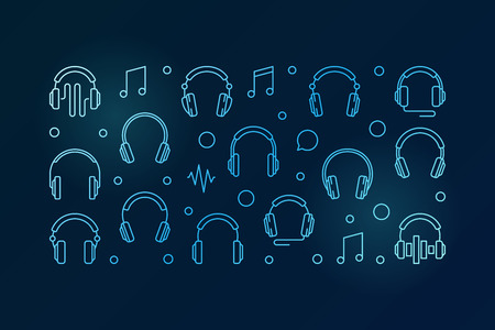 Headphones blue horizontal banner. Vector illustration 向量圖像