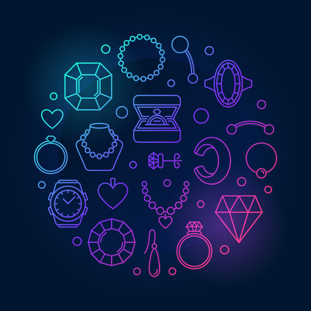 Jewellery vector round colored illustration on dark background 스톡 콘텐츠