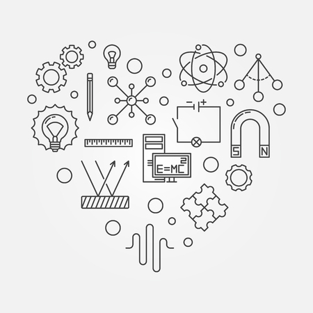 Physics heart creative symbol. Vector outline illustration