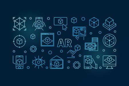 AR vector blue horizontal linear illustration or banner