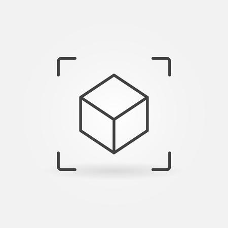 Icona lineare AR Cube. Simbolo di realtà aumentata di vettore Vettoriali