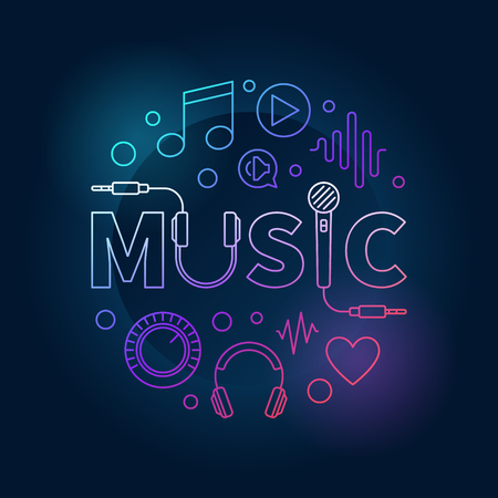 Music colored vector illustration made with word MUSIC