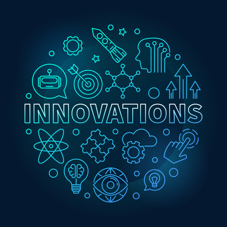 Innovations vector round blue illustration in outline style