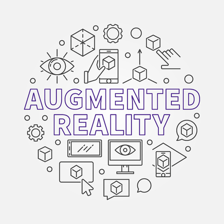 Augmented reality round vector outline illustration Illustration