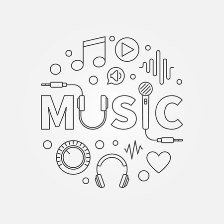 Music modern round vector illustration in outline style