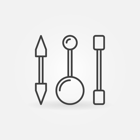 Piercing barbells outline icon. Vector piercing jewelry sign