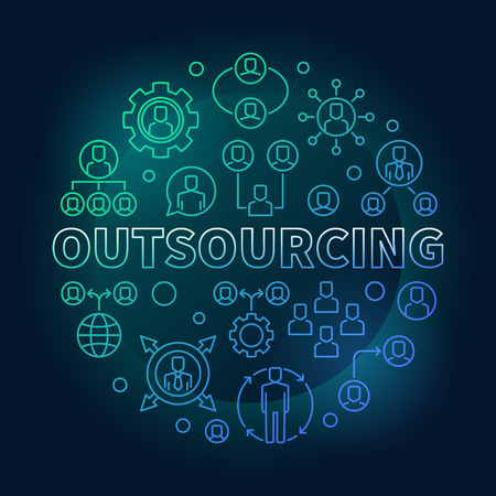 Outsourcing round colored vector outline illustration Illustration