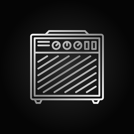 Amplifier silver outline icon on dark background