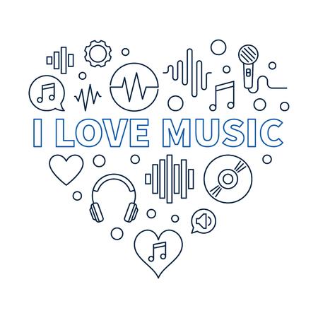I Love Music Heart - concept outline illustration